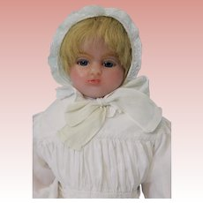 "19"" Antique poured wax doll stamped Mrs Peck 131 Regent London Circa 1893-1908"