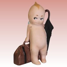 "3.5"" Antique German Bisque Rose O'Neill Kewpie Traveler Suitcase & Umbrella 1913"