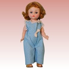 7.5 Inch Alexander-Kins doll in Blue and White Polka Dot Romper 1956