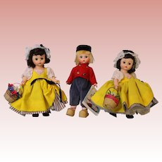 Three 8 Inch Madame Alexander French Netherlands Boy Dolls Bent Knee Lot