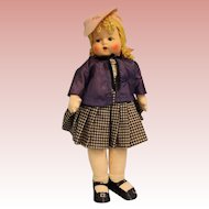 """19"""" Georgene Averill cloth school girl with music box """"My Country tis of Thee"""""""