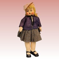 "19"" Georgene Averill cloth school girl with music box ""My Country tis of Thee"""