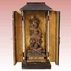 Antique Japanese Miniature Carved Wood Gilt Lacquer Zushi Shrine w Buddha 1800s