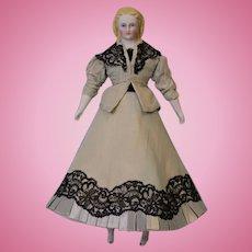 """11-1/2"""" Blonde Parian Doll Alt Beck Gottschalk 10 sausage curls Blue eyes 1860"""