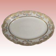 "Antique 11"" circa 1885Haviland oval platter Garlands of Roses A LOT OF GOLD"