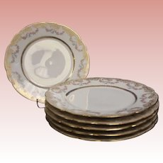 """Antique 6 Haviland 8-1/2"""" salad plates 1885 a lot of gold and Garlands of roses"""