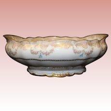 Antique ca 1885 Haviland open salad bowl 2 handles,a lot of Gold Garlands Roses