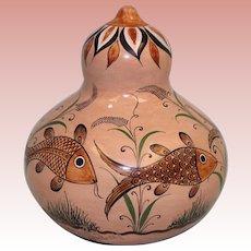 """4.5"""" Pottery Vase with Round Body A.M. Suarez Tonala. Jal. Mexico Handmade"""