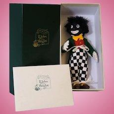 """10-inch black felt """"Golliwog"""" by R.John Wright Mint in box very rare doll MIB"""