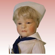 18-inch American artist R John Wright doll Arthurt with toy boat #74/500 NO BOX