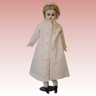 "Antique German 16"" reinforced Wax doll Blue glass eyes glorious coat and dress"