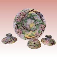 "Weller Pottery Rose 4 Piece Set ""Silvertone"" Vase, Wild Roses, Bowl, Candlestick"
