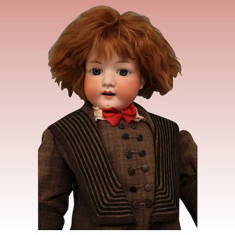 31-in Antique Heubach Koppelsdorf 302 bisque doll Red mohair wig Great costume