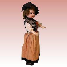 18-inch Antique bisque SFBJ Paris 60 French doll Orig Alsace Lorraine costume