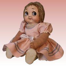 Antique 13-inch Hug Me Kiddie Googly eye doll 1912-1914 Original cloth body