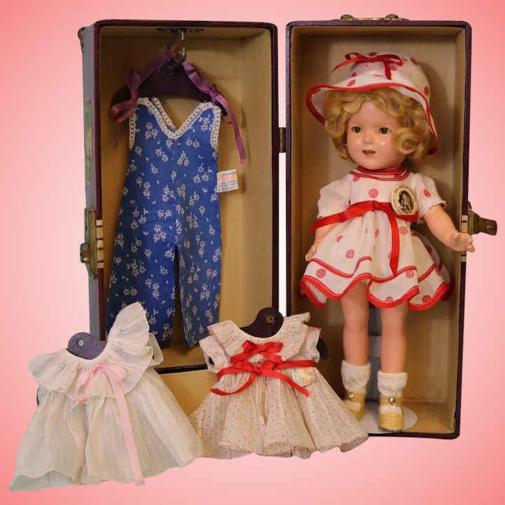 3bf9f1bc3175 13-inch Ideal Composition Shirley Temple Doll from 1935 Trunk Lots of  Outfits