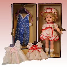 13-inch Ideal Composition Shirley Temple Doll from 1935 Trunk Lots of Outfits