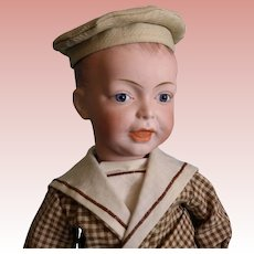 20-inch French SFBJ 226 Character Boy doll Blue glass jewel eyes Salior suit