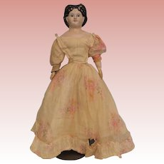 "Antique American Papier Mache 21"" doll Orig label 1860s Elaborate hair style"