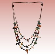 Three strand heishi necklace Multi stone fetish various color animals and beads