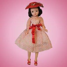 Madame Alexander Cissy 1956 doll Red polka dot organdy tagged dress Hat Shoes