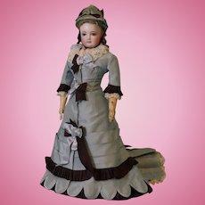 15-inch antique Jumeau French Fashion doll Leather body Orig Hat c1870