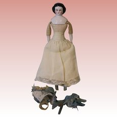 9-inch antique China Head doll 1860s hairstyle Cloth body with china limbs