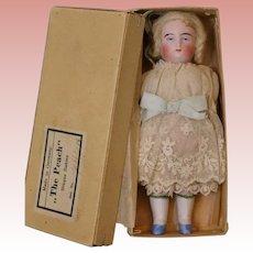 6 Inch Antique All Bisque doll The Peach label Original Box Original wig