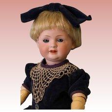 14 inch Antique Bahr & Proschild 585 German Character Doll Velvet Dress c.1912