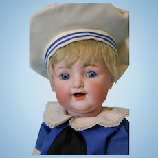 20 inch antique Kammer and Reinhardt 126 Character Doll Cute Sailor Outfit c1915