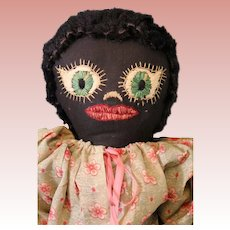 Vintage 1930s 21 inch Black Cloth Doll Fabulous Embroidered Face Handmade