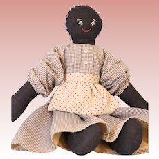 Vintage 15 inch Black Cloth Doll Home made with embroidered features