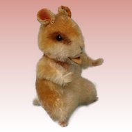 "Vintage 6"" Sitting Steiff Goldy Hamster Mohair Button in Ear"