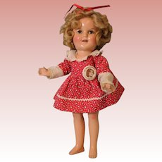 "1935 13"" Shirley Temple doll Littlest Rebel dress with Original Button CUTE!"
