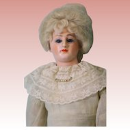 Antique 14.5 Inch Glass Eyed Paper Mache Lady Doll by Cuno & Otto Dressel