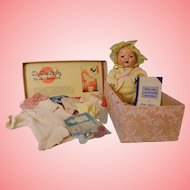 "Vintage 15"" Blonde Dy-Dee Baby doll with Original-Box Mold 1 Crazing on the body"