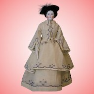 15-inch Antique China head doll Germany 1860s Original body with Fashion Dress