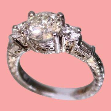 Lady's Platinum & Diamond Ring 1.75 Center diamond + more diamonds Hand Chased