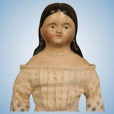 Antique 13.5 Inch Papier Mache Milliner model doll Ringlet Curls Orig clothes