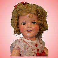 Glorious Vintage 22 Inch Ideal Shirley Temple Doll 1936 Hearts Original Dress WOW!