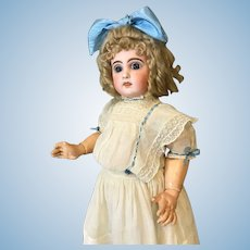 25 Inch Antique Open Mouth Jumeau doll Orig Jumeau body Blue paperweight eyes