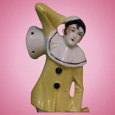 8 Inch Rare Size Full Figure Pierrot Half Doll Germany, Circa 1900 Reclining