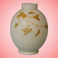 "5.5"" c.1890 Antique English Victorian Thomas Webb Cameo Fishscale Bulb Vase"
