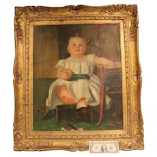 Antique 1850s Oil Painting Young Boy Holding Ball Some damage Original Fine Art