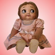 Antique 13-inch Hug Me Kiddie Googly eye doll 1912-1914 Original cloth body