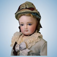15-inch antique Jumeau French Fashion doll Leather body Orig Hat c1870