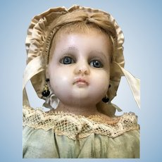 14 Inch Antique German Poured Wax doll Blue glass eyes Orig costume