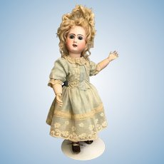 "18"" Antique Phenix Star French bisque Bebe Doll Steiner 1890s Blonde mohair wig"
