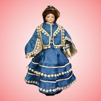 15 Inch Antique French Fashion Bisque Doll in Amazing Blue Ensemble Size 2