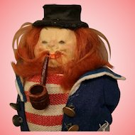 """7"""" Lenci Peg Leg Sailor Smee Character Doll with Pipe Lenci Tag Molded face"""